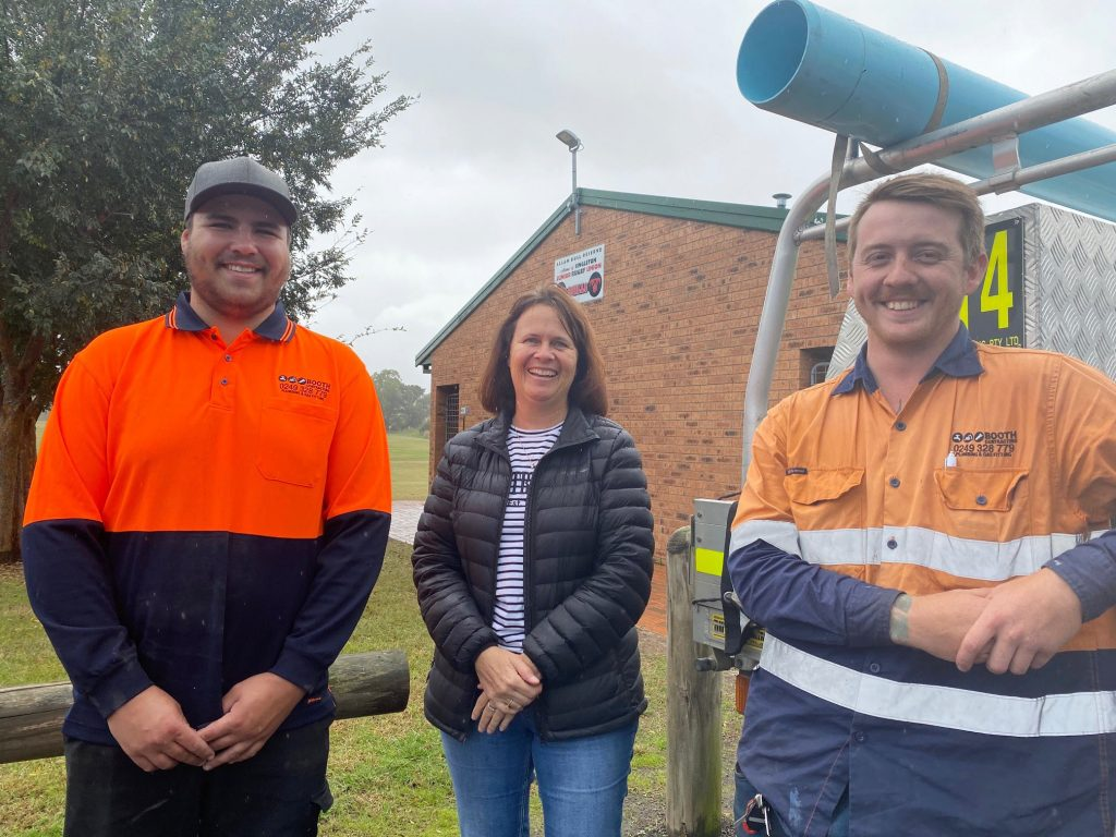 Toby Geach and Cameron Brandt from Booth Contracting with Singleton Council's Coordinator Recreation and Facilities Amanda McMahon.